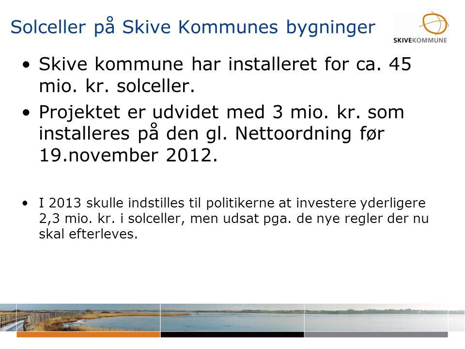Solceller på Skive Kommunes bygninger •I 2013 skulle indstilles til politikerne at investere yderligere 2,3 mio.