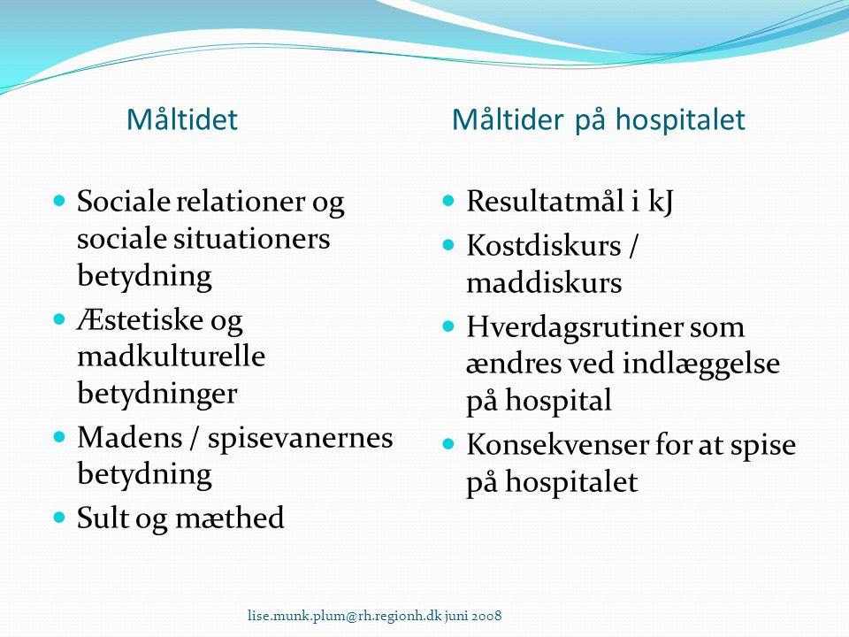 Måltidet Måltider på hospitalet  Sociale relationer og sociale situationers betydning  Æstetiske og madkulturelle betydninger  Madens / spisevanern