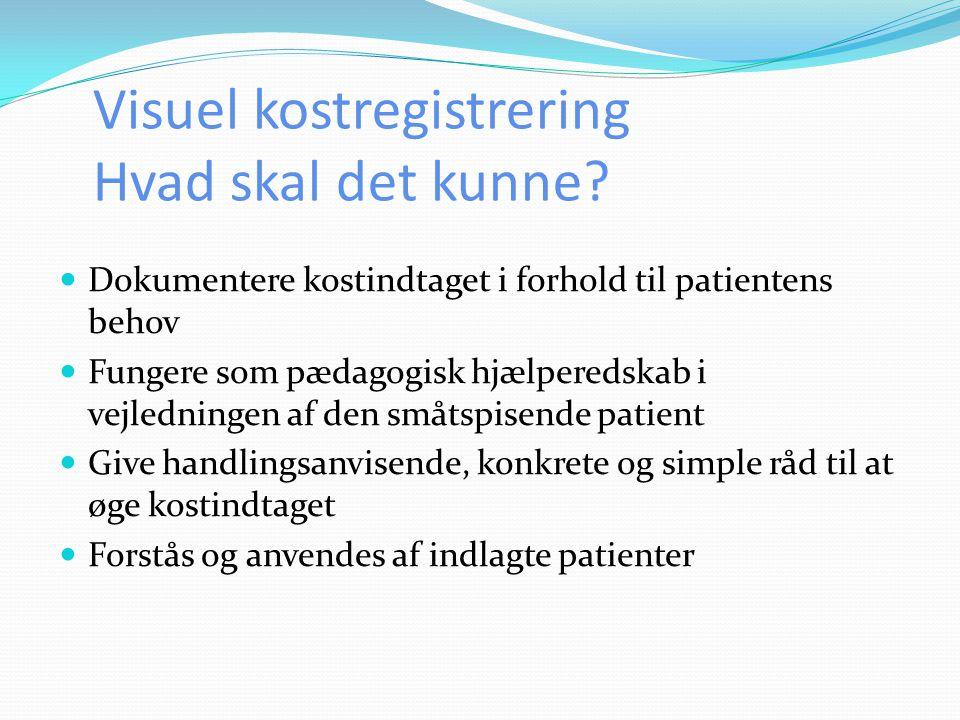 Visuel kostregistrering Hvad skal det kunne?  Dokumentere kostindtaget i forhold til patientens behov  Fungere som pædagogisk hjælperedskab i vejled