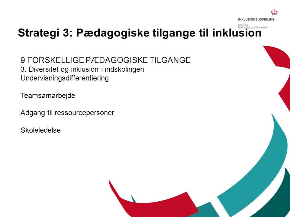 9 FORSKELLIGE PÆDAGOGISKE TILGANGE 3. Diversitet og inklusion i indskolingen Undervisningsdifferentiering Teamsamarbejde Adgang til ressourcepersoner