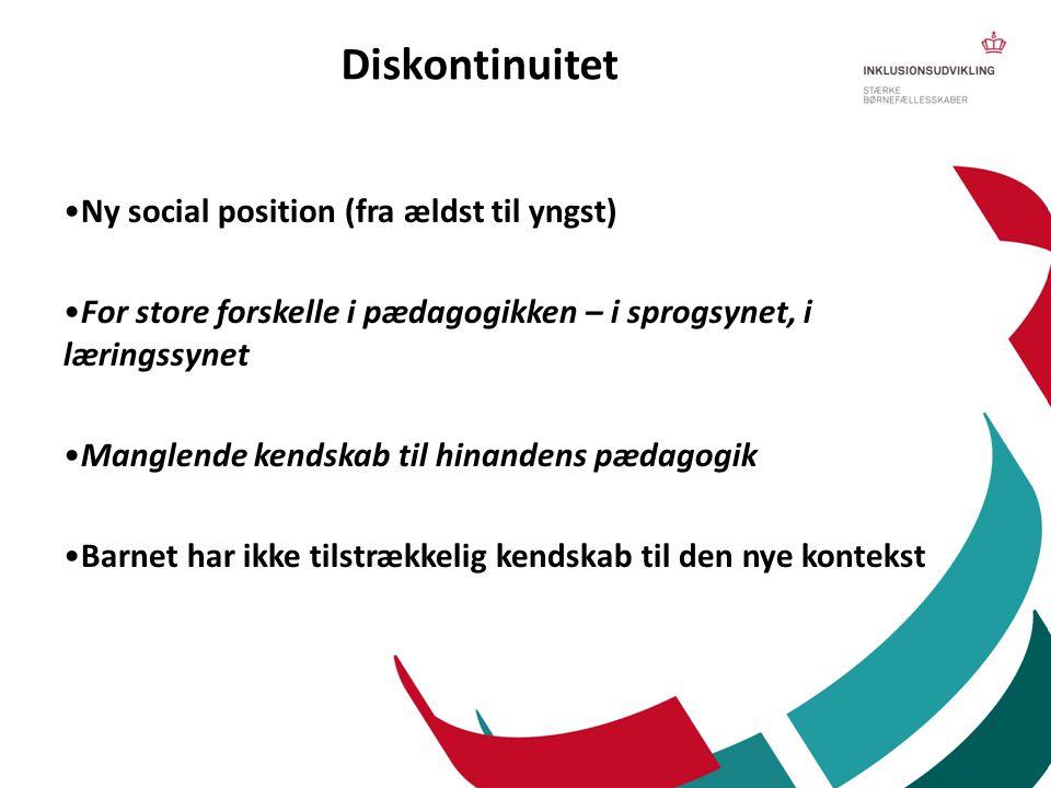 Diskontinuitet •Ny social position (fra ældst til yngst) •For store forskelle i pædagogikken – i sprogsynet, i læringssynet •Manglende kendskab til hi