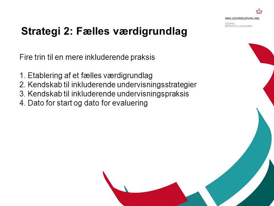 Fire trin til en mere inkluderende praksis 1. Etablering af et fælles værdigrundlag 2. Kendskab til inkluderende undervisningsstrategier 3. Kendskab t