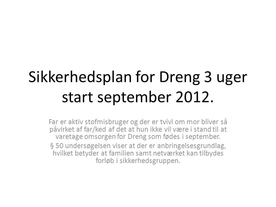 Sikkerhedsplan for Dreng 3 uger start september 2012. Far er aktiv stofmisbruger og der er tvivl om mor bliver så påvirket af far/ked af det at hun ik