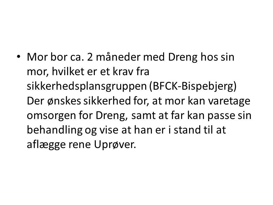 • Mor bor ca. 2 måneder med Dreng hos sin mor, hvilket er et krav fra sikkerhedsplansgruppen (BFCK-Bispebjerg) Der ønskes sikkerhed for, at mor kan va