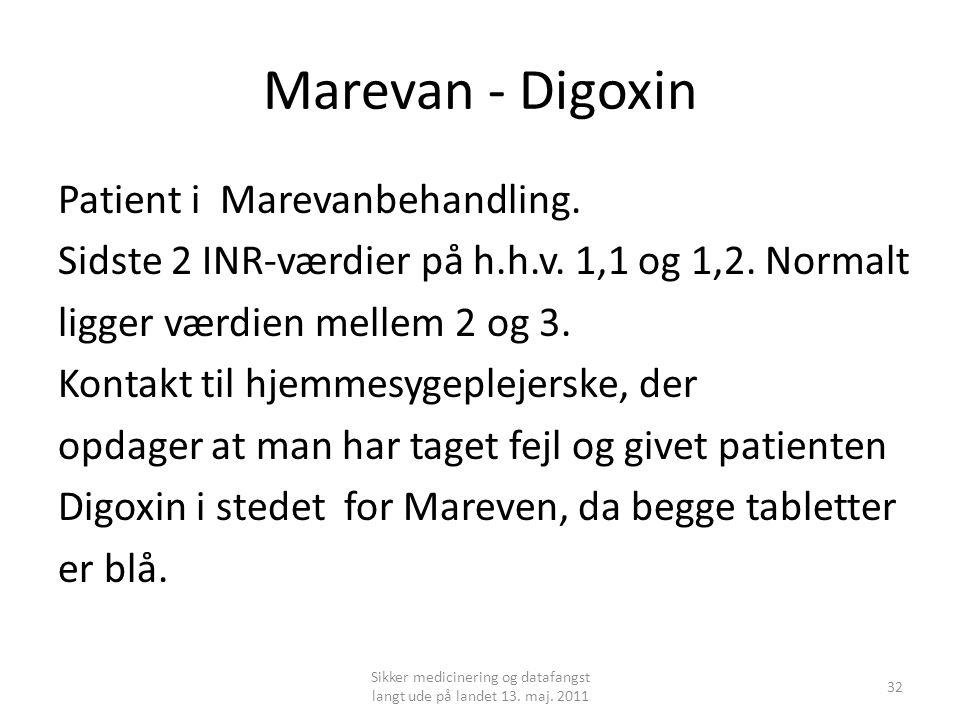Marevan - Digoxin Patient i Marevanbehandling.Sidste 2 INR-værdier på h.h.v.