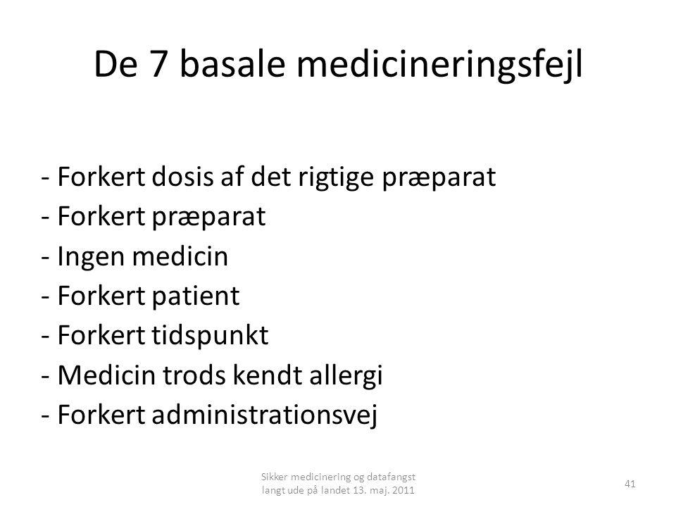 De 7 basale medicineringsfejl - Forkert dosis af det rigtige præparat - Forkert præparat - Ingen medicin - Forkert patient - Forkert tidspunkt - Medicin trods kendt allergi - Forkert administrationsvej Sikker medicinering og datafangst langt ude på landet 13.