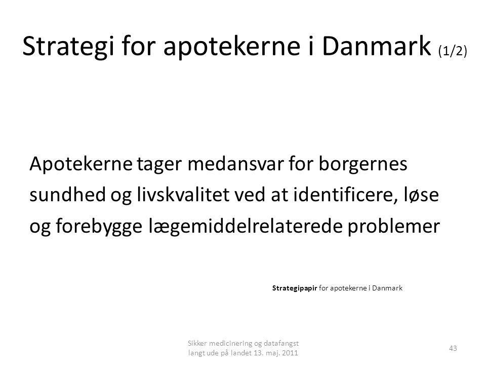 Strategi for apotekerne i Danmark (1/2) Apotekerne tager medansvar for borgernes sundhed og livskvalitet ved at identificere, løse og forebygge lægemiddelrelaterede problemer Strategipapir for apotekerne i Danmark Sikker medicinering og datafangst langt ude på landet 13.
