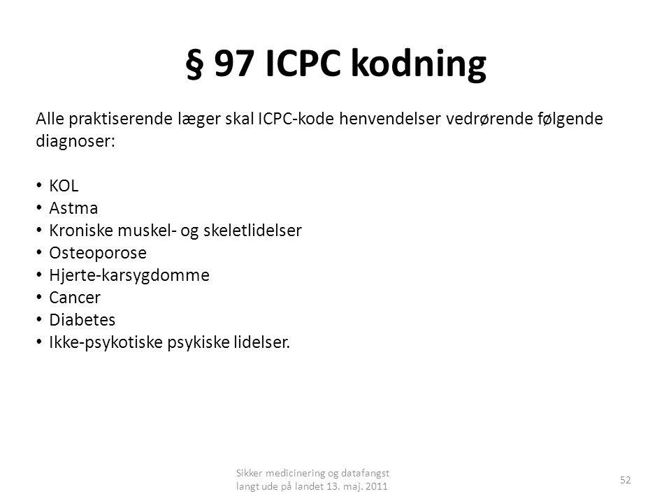 § 97 ICPC kodning Alle praktiserende læger skal ICPC-kode henvendelser vedrørende følgende diagnoser: • KOL • Astma • Kroniske muskel- og skeletlidelser • Osteoporose • Hjerte-karsygdomme • Cancer • Diabetes • Ikke-psykotiske psykiske lidelser.