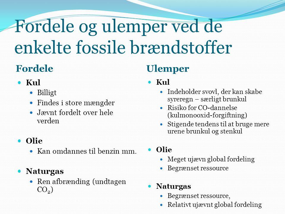 Fordele og ulemper ved de enkelte fossile brændstoffer Fordele Ulemper  Kul  Billigt  Findes i store mængder  Jævnt fordelt over hele verden  Oli