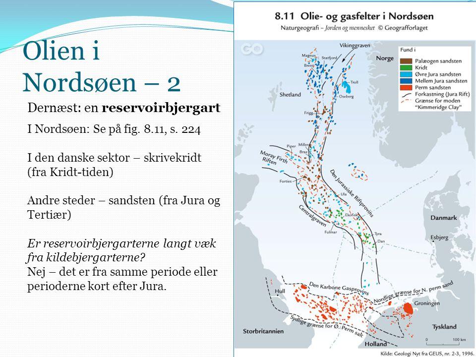 Olien i Nordsøen – 2 Dernæst: en reservoirbjergart I Nordsøen: Se på fig. 8.11, s. 224 I den danske sektor – skrivekridt (fra Kridt-tiden) Andre stede
