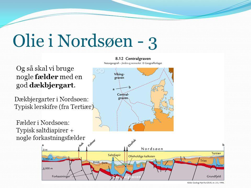Olie i Nordsøen - 3 Og så skal vi bruge nogle fælder med en god dækbjergart. Dækbjergarter i Nordsøen: Typisk lerskifre (fra Tertiær) Fælder i Nordsøe