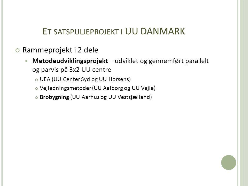 E T SATSPULJEPROJEKT I UU DANMARK Rammeprojekt i 2 dele  Metodeudviklingsprojekt – udviklet og gennemført parallelt og parvis på 3x2 UU centre UEA (UU Center Syd og UU Horsens) Vejledningsmetoder (UU Aalborg og UU Vejle) Brobygning (UU Aarhus og UU Vestsjælland)