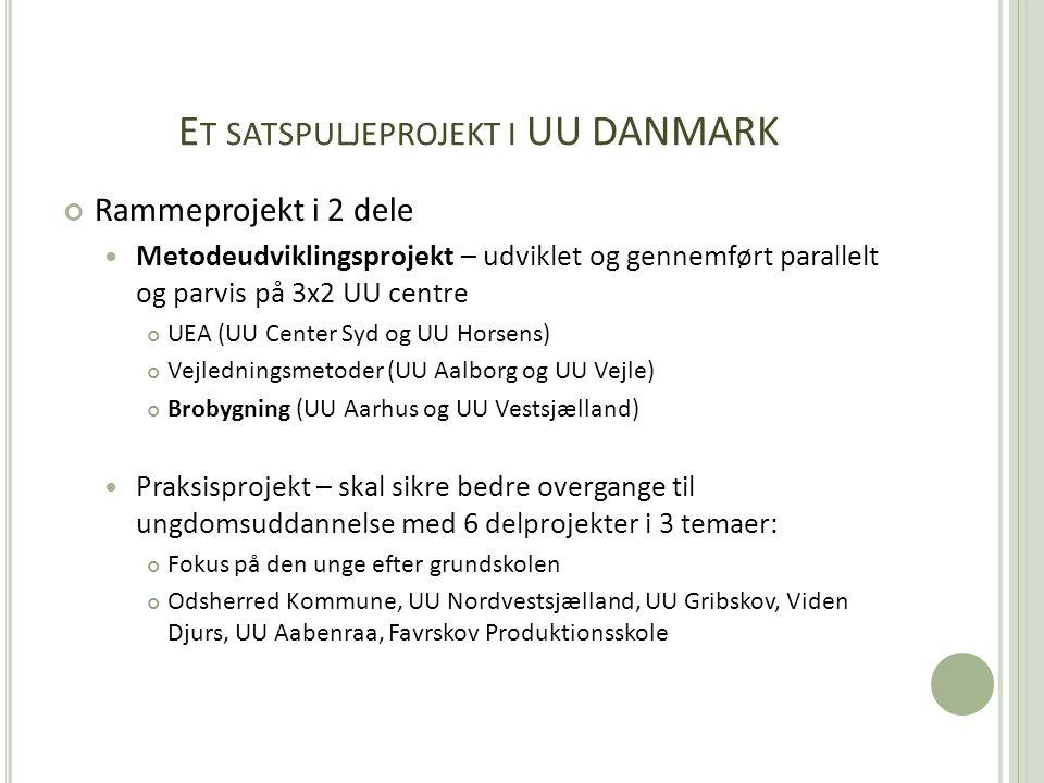 E T SATSPULJEPROJEKT I UU DANMARK Rammeprojekt i 2 dele  Metodeudviklingsprojekt – udviklet og gennemført parallelt og parvis på 3x2 UU centre UEA (UU Center Syd og UU Horsens) Vejledningsmetoder (UU Aalborg og UU Vejle) Brobygning (UU Aarhus og UU Vestsjælland)  Praksisprojekt – skal sikre bedre overgange til ungdomsuddannelse med 6 delprojekter i 3 temaer: Fokus på den unge efter grundskolen Odsherred Kommune, UU Nordvestsjælland, UU Gribskov, Viden Djurs, UU Aabenraa, Favrskov Produktionsskole