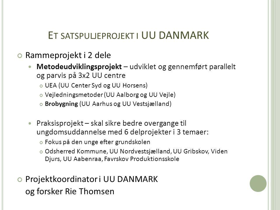 E T SATSPULJEPROJEKT I UU DANMARK Rammeprojekt i 2 dele  Metodeudviklingsprojekt – udviklet og gennemført parallelt og parvis på 3x2 UU centre UEA (UU Center Syd og UU Horsens) Vejledningsmetoder (UU Aalborg og UU Vejle) Brobygning (UU Aarhus og UU Vestsjælland)  Praksisprojekt – skal sikre bedre overgange til ungdomsuddannelse med 6 delprojekter i 3 temaer: Fokus på den unge efter grundskolen Odsherred Kommune, UU Nordvestsjælland, UU Gribskov, Viden Djurs, UU Aabenraa, Favrskov Produktionsskole Projektkoordinator i UU DANMARK og forsker Rie Thomsen