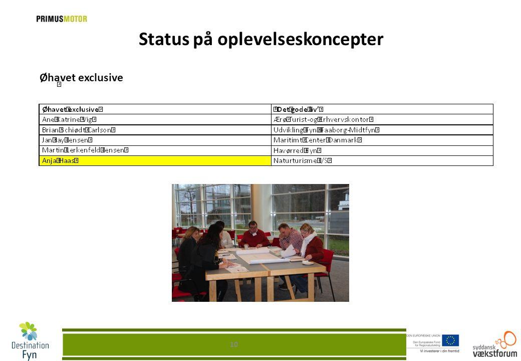 Status på oplevelseskoncepter Øhavet exclusive 10