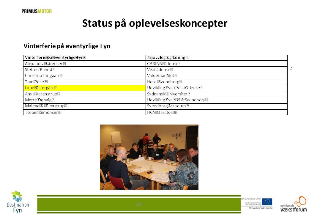 Status på oplevelseskoncepter Vinterferie på eventyrlige Fyn 18