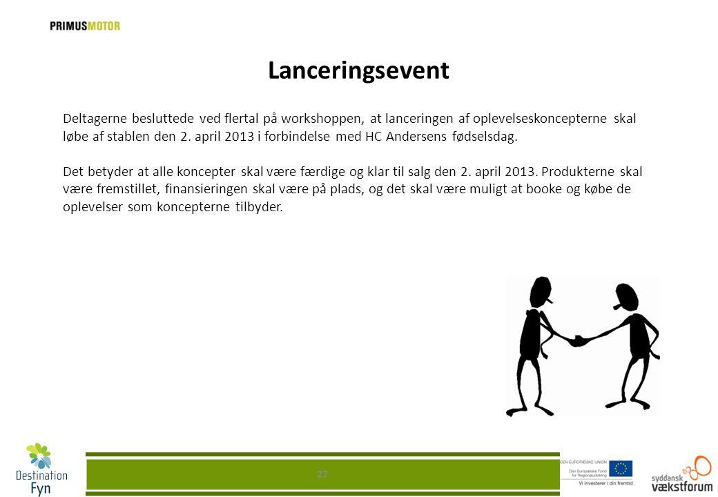 Lanceringsevent 27 Deltagerne besluttede ved flertal på workshoppen, at lanceringen af oplevelseskoncepterne skal løbe af stablen den 2. april 2013 i