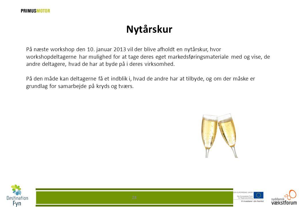 Nytårskur 28 På næste workshop den 10. januar 2013 vil der blive afholdt en nytårskur, hvor workshopdeltagerne har mulighed for at tage deres eget mar