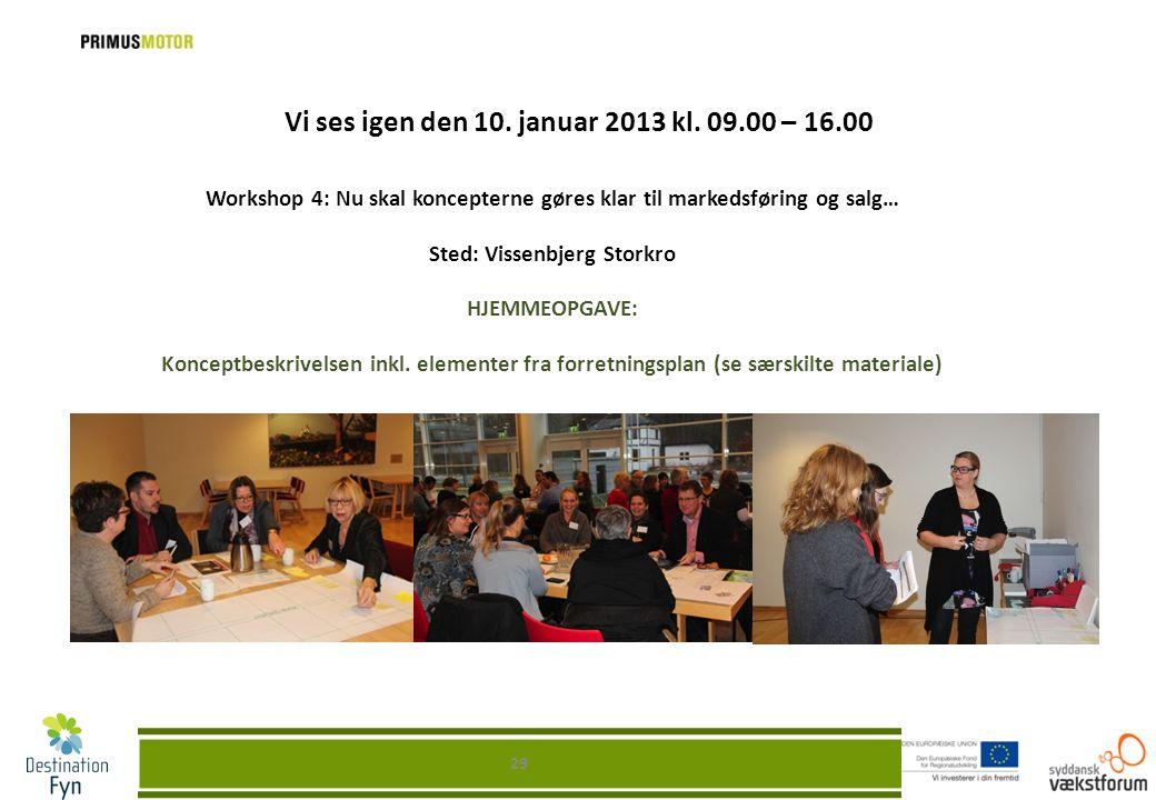 Vi ses igen den 10. januar 2013 kl. 09.00 – 16.00 Workshop 4: Nu skal koncepterne gøres klar til markedsføring og salg… Sted: Vissenbjerg Storkro HJEM