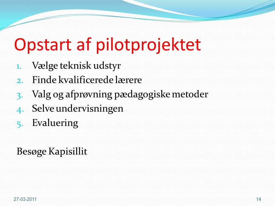 Opstart af pilotprojektet 1.Vælge teknisk udstyr 2.