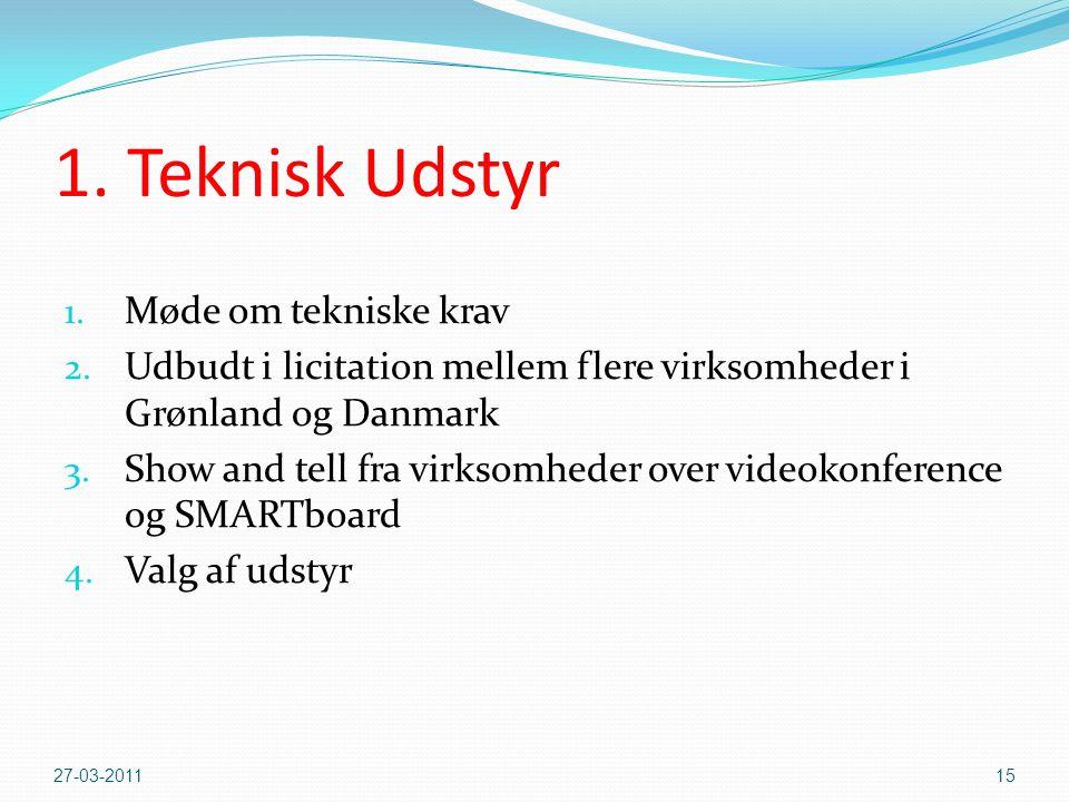 1.Teknisk Udstyr 1. Møde om tekniske krav 2.