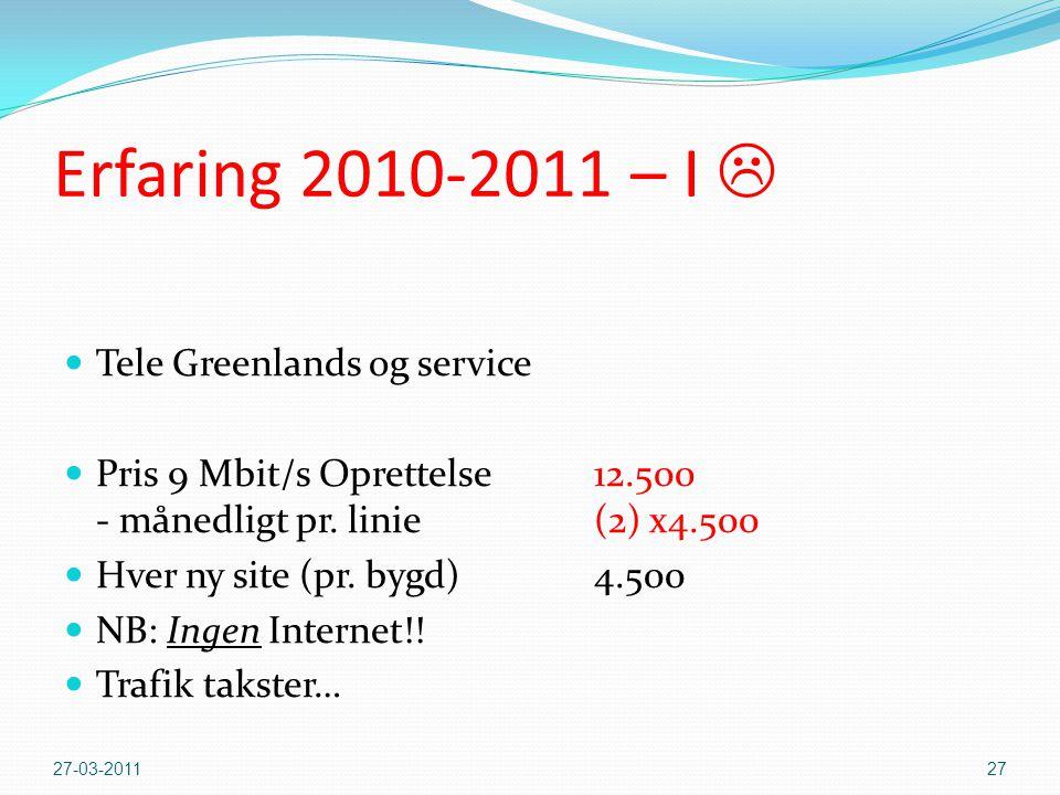 Erfaring 2010-2011 – I   Tele Greenlands og service  Pris 9 Mbit/s Oprettelse 12.500 - månedligt pr.