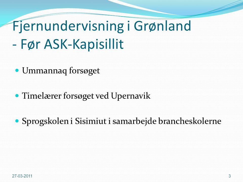 Pilot projektet Ask Kapisillit, kan også oversættes som: Spørg Kapisillit idet den endelige rapport vil belyse hvilke tiltag som er vellykket, og dermed kan besvare nogle spørgsmål om fjernundervisning i Grønland.