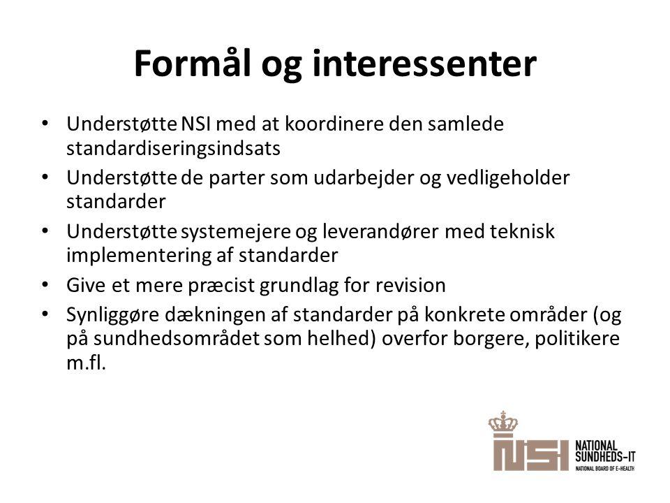 Formål og interessenter • Understøtte NSI med at koordinere den samlede standardiseringsindsats • Understøtte de parter som udarbejder og vedligeholde