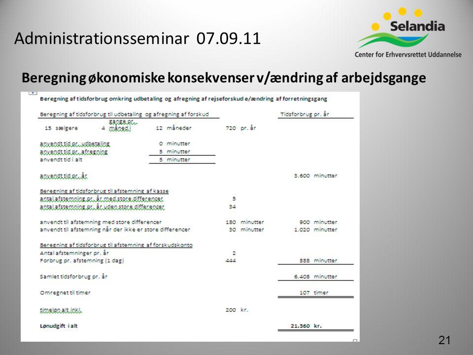 Administrationsseminar 07.09.11 Beregning økonomiske konsekvenser v/ændring af arbejdsgange 21
