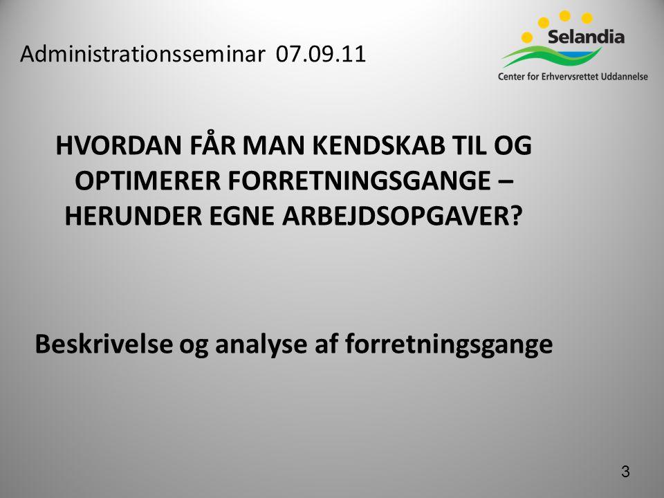 Administrationsseminar 07.09.11 HVORDAN FÅR MAN KENDSKAB TIL OG OPTIMERER FORRETNINGSGANGE – HERUNDER EGNE ARBEJDSOPGAVER.