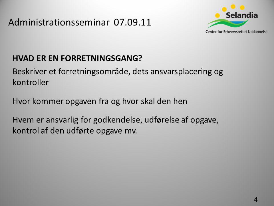 Administrationsseminar 07.09.11 HVAD ER EN FORRETNINGSGANG.