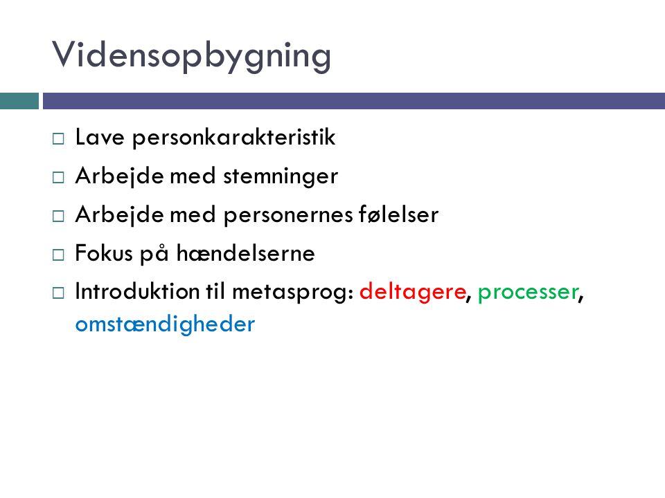 Vidensopbygning  Lave personkarakteristik  Arbejde med stemninger  Arbejde med personernes følelser  Fokus på hændelserne  Introduktion til metasprog: deltagere, processer, omstændigheder