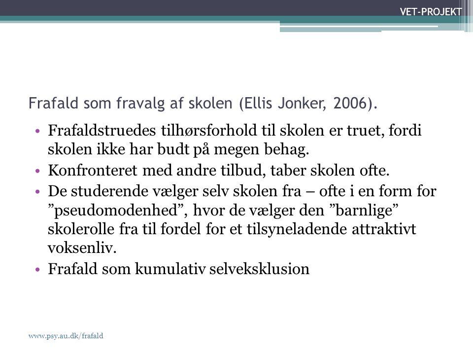 www.psy.au.dk/frafald VET-PROJEKT Frafald som fravalg af skolen (Ellis Jonker, 2006).