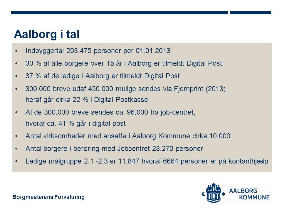 Borgmesterens Forvaltning •Indbyggertal 203.475 personer per 01.01.2013 •30 % af alle borgere over 15 år i Aalborg er tilmeldt Digital Post •37 % af de ledige i Aalborg er tilmeldt Digital Post •300.000 breve udaf 450.000 mulige sendes via Fjernprint (2013) heraf går cirka 22 % i Digital Postkasse •Af de 300.000 breve sendes ca.