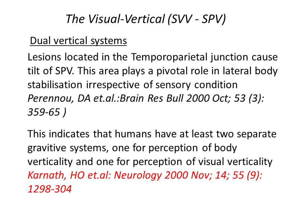 The Visual-Vertical (SVV - SPV) Lesions located in the Temporoparietal junction cause tilt of SPV.