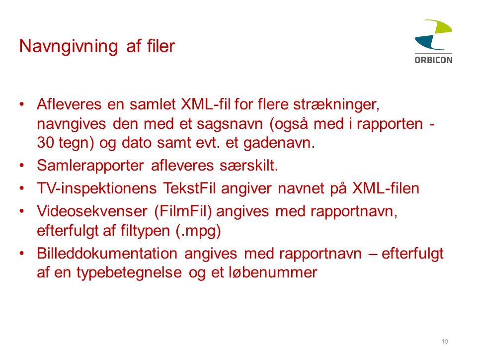 Navngivning af filer •Afleveres en samlet XML-fil for flere strækninger, navngives den med et sagsnavn (også med i rapporten - 30 tegn) og dato samt evt.