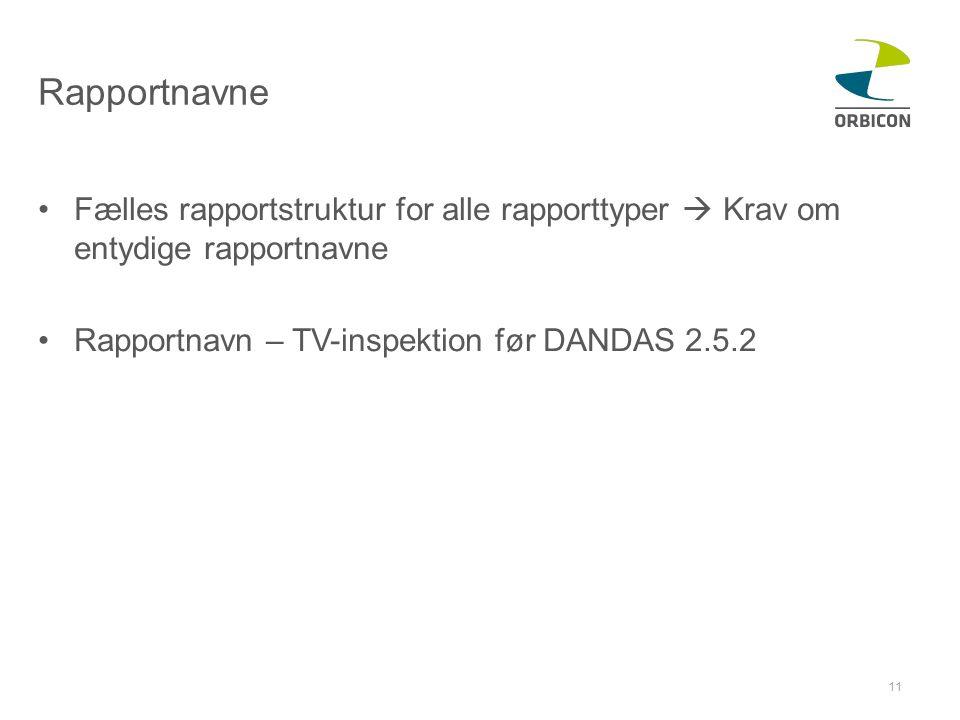 Rapportnavne •Fælles rapportstruktur for alle rapporttyper  Krav om entydige rapportnavne •Rapportnavn – TV-inspektion før DANDAS 2.5.2 11