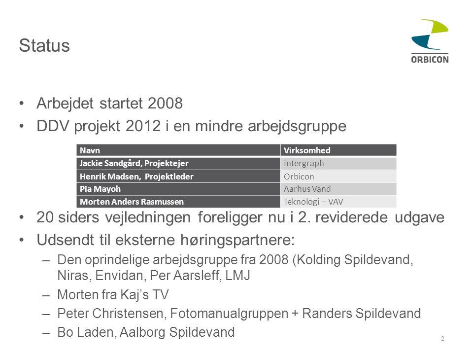 Status •Arbejdet startet 2008 •DDV projekt 2012 i en mindre arbejdsgruppe •20 siders vejledningen foreligger nu i 2.