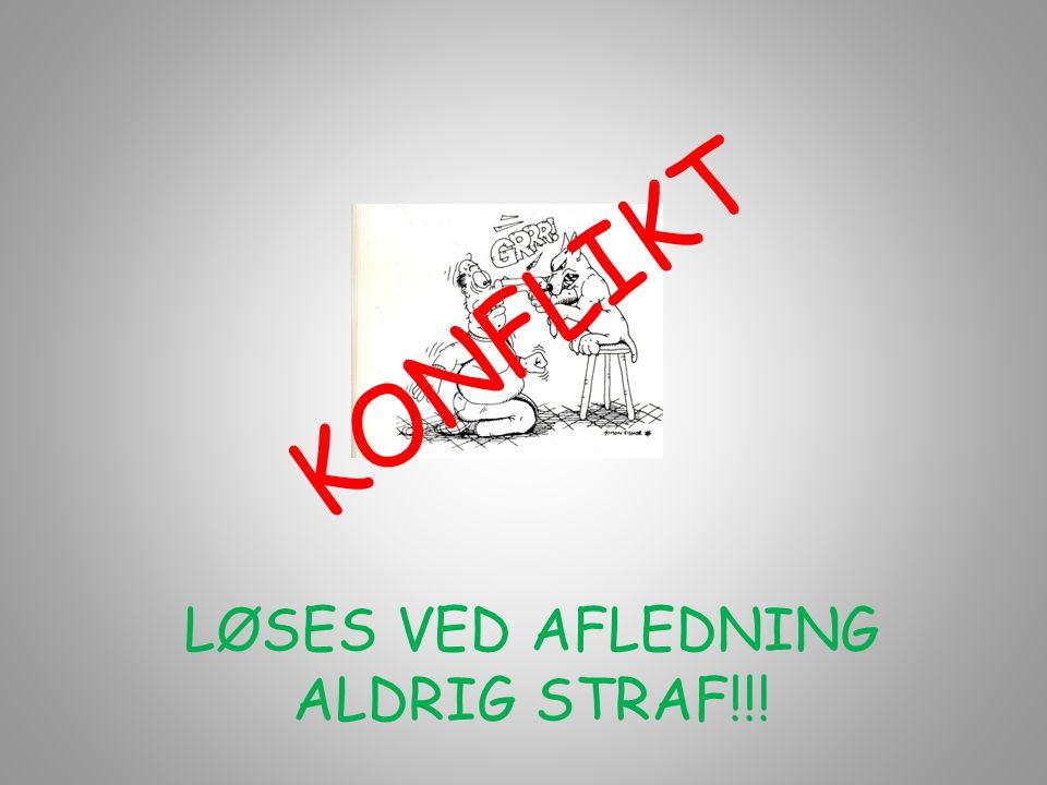 K O N F L I K T LØSES VED AFLEDNING ALDRIG STRAF!!!