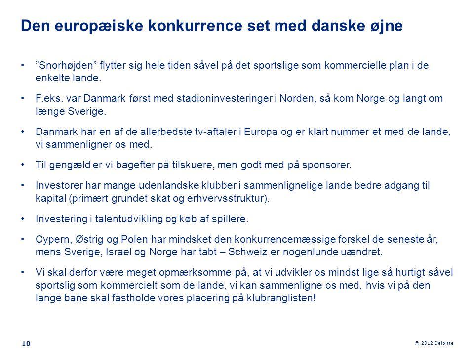 """© 2012 Deloitte 10 •""""Snorhøjden"""" flytter sig hele tiden såvel på det sportslige som kommercielle plan i de enkelte lande. •F.eks. var Danmark først me"""