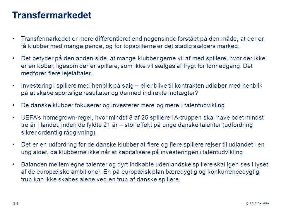 © 2012 Deloitte •Transfermarkedet er mere differentieret end nogensinde forstået på den måde, at der er få klubber med mange penge, og for topspillern