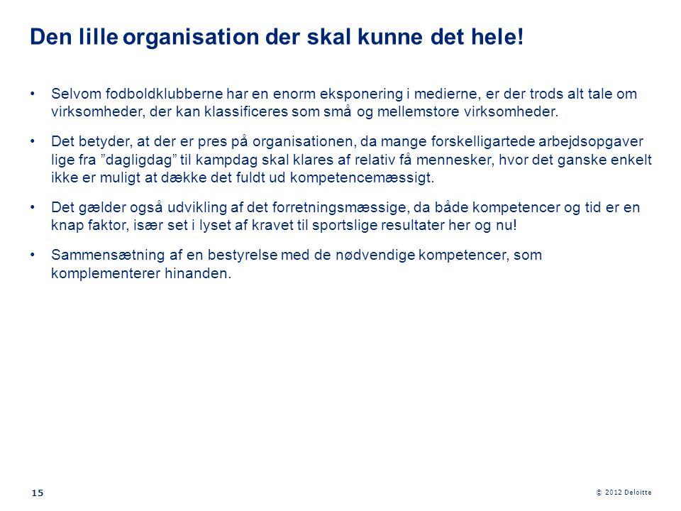 © 2012 Deloitte 15 •Selvom fodboldklubberne har en enorm eksponering i medierne, er der trods alt tale om virksomheder, der kan klassificeres som små