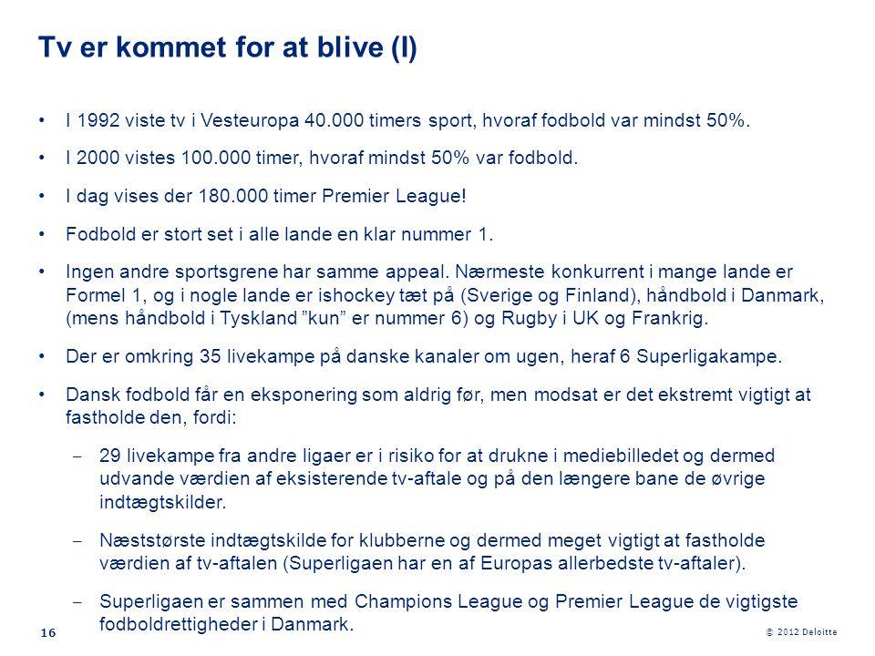 © 2012 Deloitte 16 •I 1992 viste tv i Vesteuropa 40.000 timers sport, hvoraf fodbold var mindst 50%. •I 2000 vistes 100.000 timer, hvoraf mindst 50% v