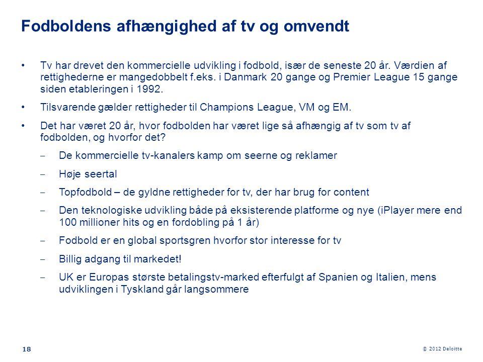 © 2012 Deloitte 18 •Tv har drevet den kommercielle udvikling i fodbold, især de seneste 20 år. Værdien af rettighederne er mangedobbelt f.eks. i Danma
