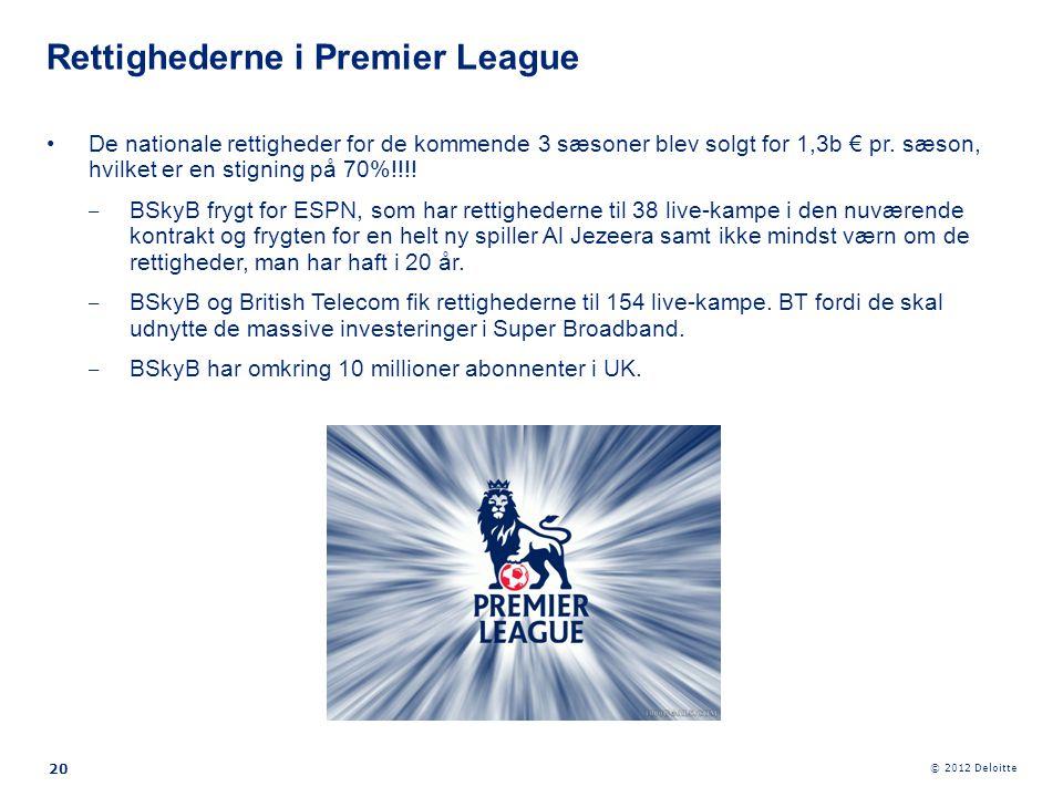© 2012 Deloitte 20 •De nationale rettigheder for de kommende 3 sæsoner blev solgt for 1,3b € pr. sæson, hvilket er en stigning på 70%!!!! ‒ BSkyB fryg