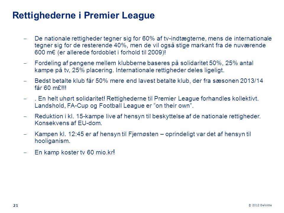 © 2012 Deloitte 21 ‒ De nationale rettigheder tegner sig for 60% af tv-indtægterne, mens de internationale tegner sig for de resterende 40%, men de vi