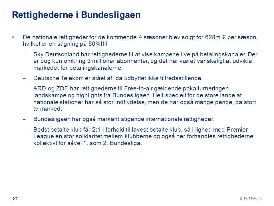 © 2012 Deloitte 22 •De nationale rettigheder for de kommende 4 sæsoner blev solgt for 628m € per sæson, hvilket er en stigning på 50%!!!! ‒ Sky Deutsc