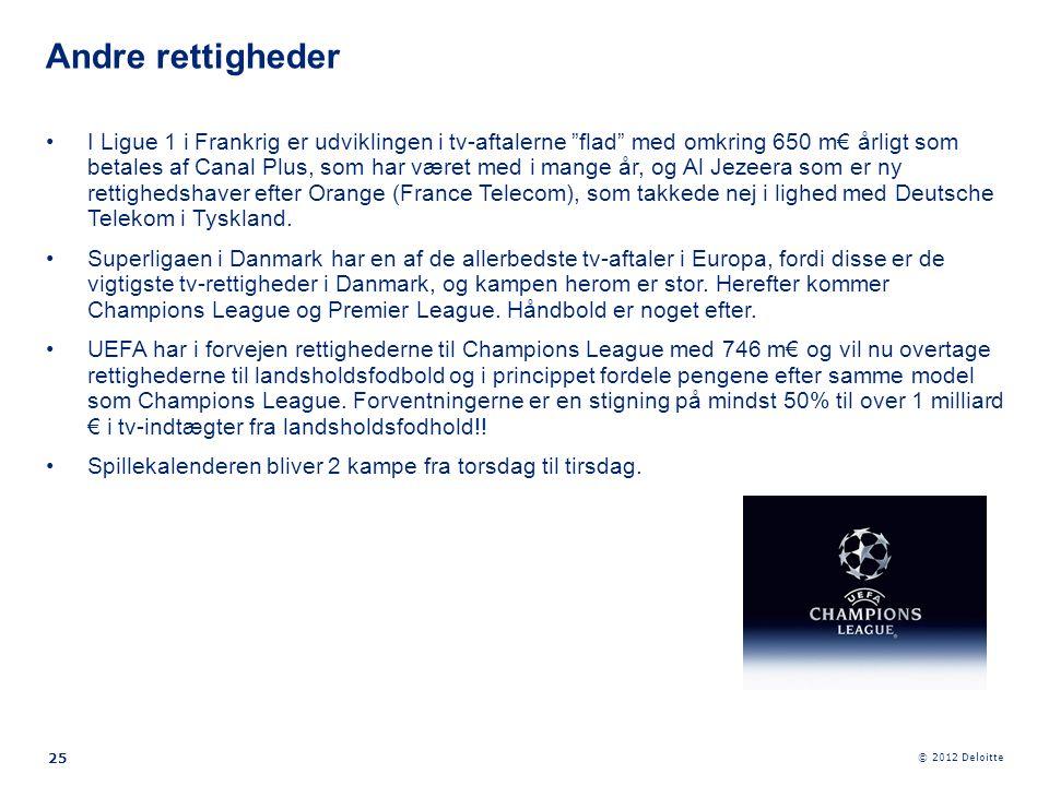 """© 2012 Deloitte 25 •I Ligue 1 i Frankrig er udviklingen i tv-aftalerne """"flad"""" med omkring 650 m€ årligt som betales af Canal Plus, som har været med i"""