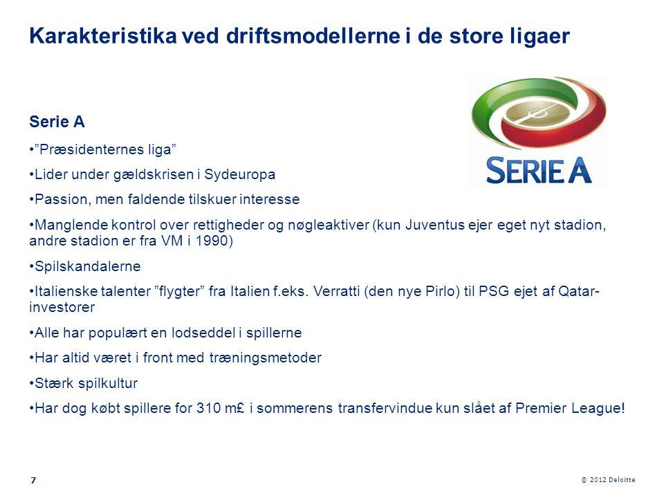 """© 2012 Deloitte 7 Serie A •""""Præsidenternes liga"""" •Lider under gældskrisen i Sydeuropa •Passion, men faldende tilskuer interesse •Manglende kontrol ove"""
