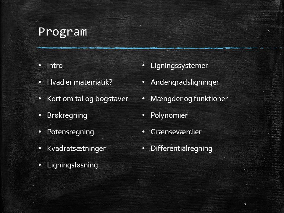 Program • Intro • Hvad er matematik? • Kort om tal og bogstaver • Brøkregning • Potensregning • Kvadratsætninger • Ligningsløsning • Ligningssystemer